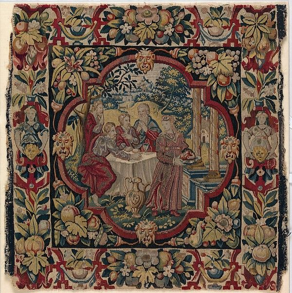 """""""Abraham Entertaining the Angels"""" from Scenes from the Lives of Abraham and Isaac Date: ca. 1600 Culture: Flemish Medium: Wool, silk, silver-gilt thread (21 warps per inch, 9 per cm.) Dimensions: H. 19 3/4 x W. 20 inches (50.2 x 50.8 cm) Classification: Textiles-Tapestries Credit Line: Gift of George Blumenthal, 1941 Accession Number: 41.100.57e"""