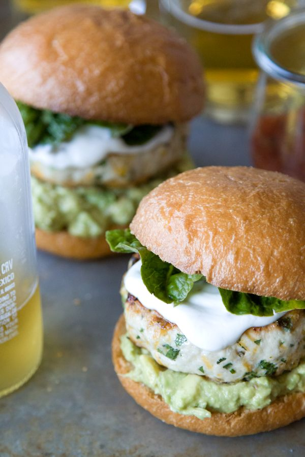 Cheddar Jalapeno Chicken Burgers with Guacamole.