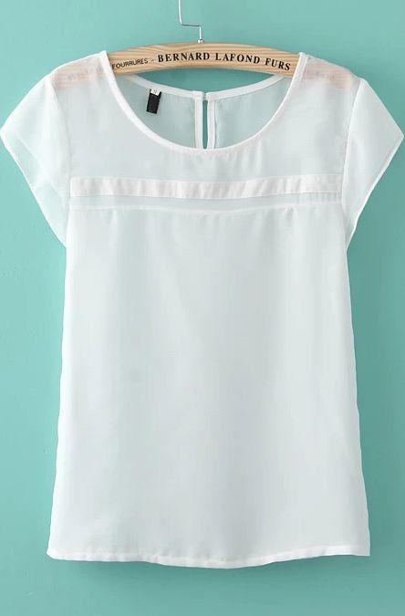 Blusa suelta gasa manga corta-blanco 10.22                                                                                                                                                     Más