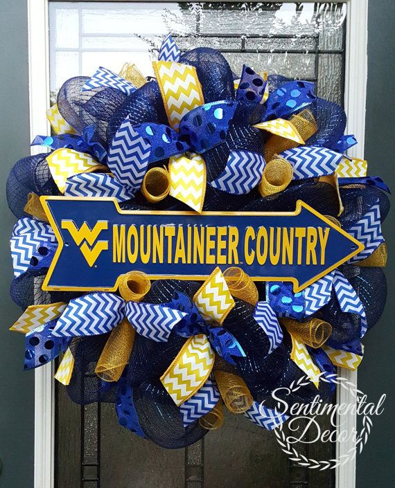 West Virginia Wreath,Collegiate Wreath,WV Football,BlueDeco Mesh Wreath,Mountaineer Pride,Fall Wreath,WV Alumni Gift,Sorority Wreath