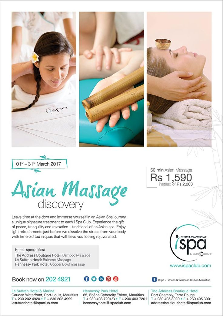 I Spa at Indigo Hotels: Asian Massage Discovery - March Special . Tel: 202 4921
