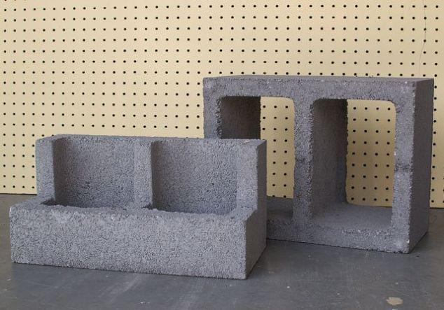 cinza plantador de bloco de cactos, alvenaria de concreto, jardinagem do recipiente, jardinagem, redirecionando upcycling