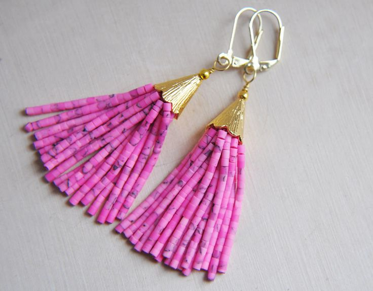 Pink Tassel Earrings, Pink Earrings, Tassel Earrings, Festival Earrings, Bohemian Earrings, Boho Earrings, Summer Earrings, Pink Jewelry by FawningInLove on Etsy