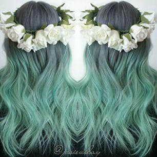 Love the grey green ish hair !