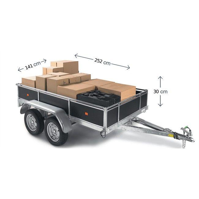 Remorque bois 2 essieux 750 Kg livrée montée. - Idéale pour les professionnels. - les 4 Ridelles sont amovibles. - Main courante inclus. - Fabriquée en France  Référence : 656293  : 1 199 €