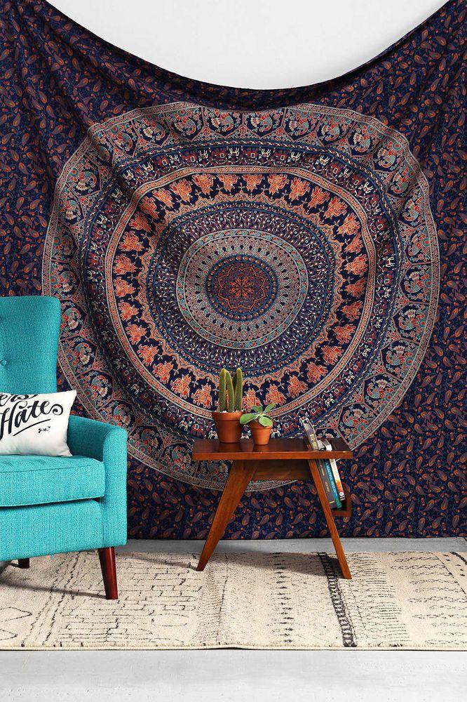 Queen Hippie Indian Tapestry Elephant Mandala Throw Wall Hanging Boho Bedspread #HandmadeCraftAura #BedspreadTapestry