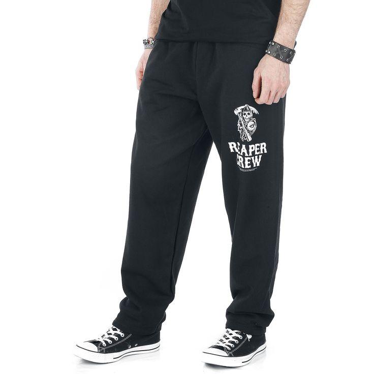 """Pantaloni sportivi uomo neri """"Reaper Crew"""" della serie televisiva #SonsOfAnarchy dotati di 2 tasche laterali e stampa sulla gamba sinistra."""