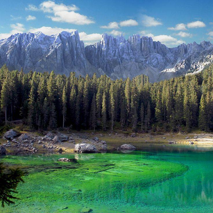 Carezza Lake, Latemar Dolomites near Bolzano, Italy