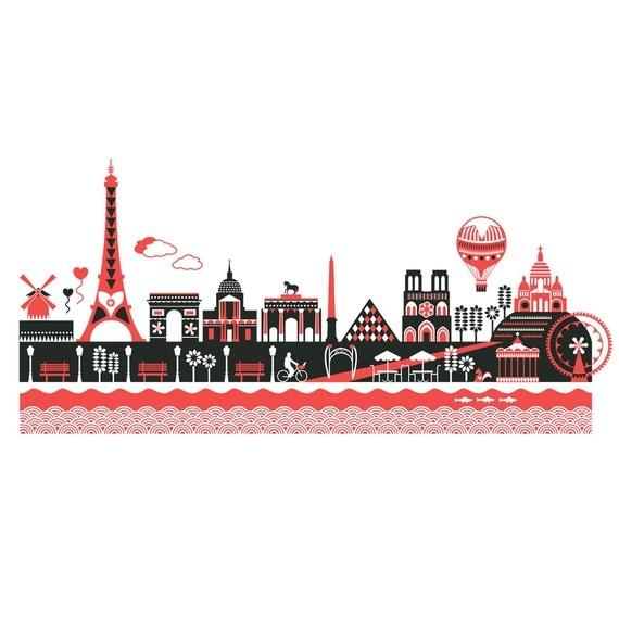 paris skyline screen print