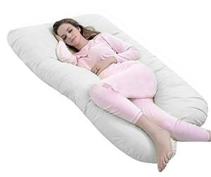 Full Pregnancy Body Pillow Originally with Zipper Removable Case-U Shaped-By QUEEN ROSE(Soft White)