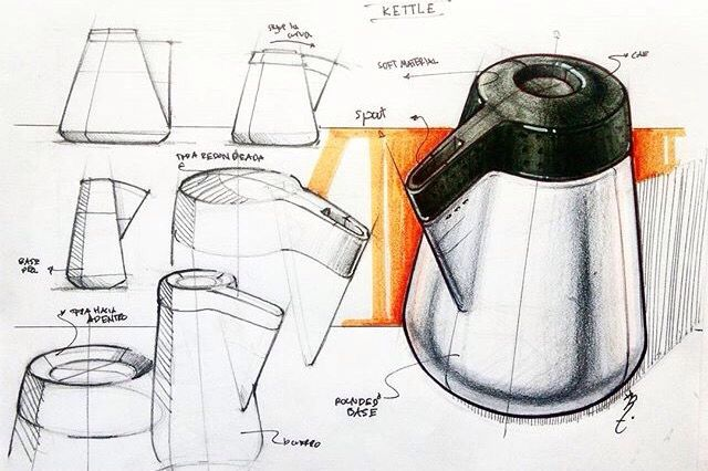 Notice the different styles of tonal rendering and how it wraps around the surface of the container. The background colour contrasts with the product and brings the figure forward on the page