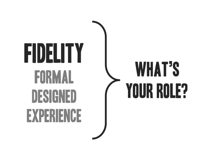 Fidelity: what's your role?