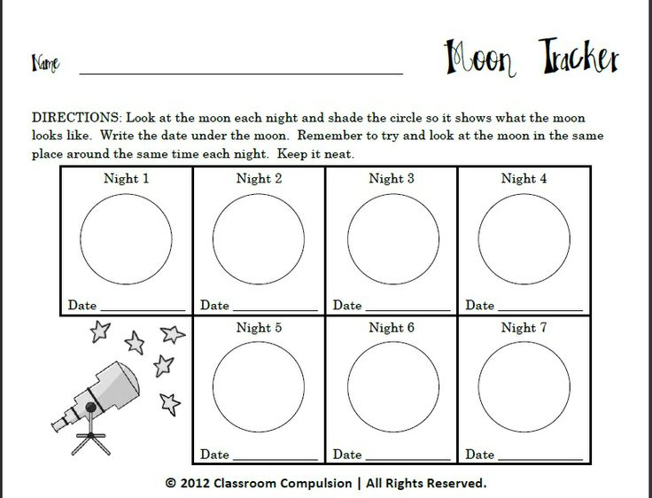 Classroom Freebies Too: Moon Tracker for Moon Phases Unit