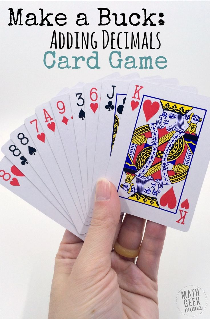 This super simple adding decimals game will give your kids lots of practice with adding decimals, as well as developing their problem solving and mental math skills. Plus, you'll love how easy it is to set up: all you need is a deck of cards! http://mathgeekmama.com/adding-decimals-game/?utm_campaign=coschedule&utm_source=pinterest&utm_medium=Bethany%20%7C%20Math%20Geek%20Mama&utm_content=Make%20a%20Buck%3A%20Unique%20Adding%20Decimals%20Game