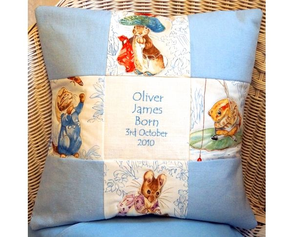 This charming nursery cushion is embroidered with your child's name and date of birth. Features four Beatrix Potter © character. This makes a wonderful gift for a new baby, christening or first birthday.
