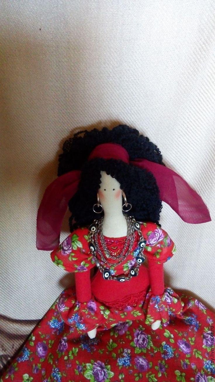 Купить Кукла Тильда Цыганка Аза - ярко-красный, яркий, черный, кукла Тильда