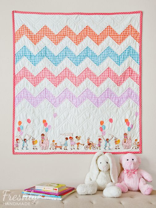 Children At Play Chevron Quilt. Nice use of a non-repeating fabric for the bottom.