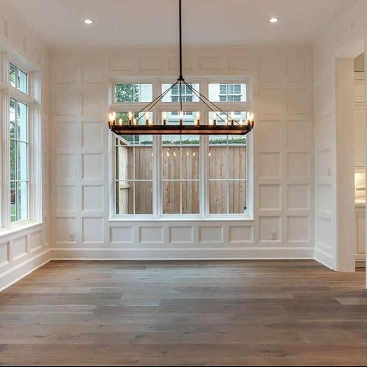 Gray Stain Floors. Gray Wood Floors. Thick Baseboards. Recessed Lighting. # Houston