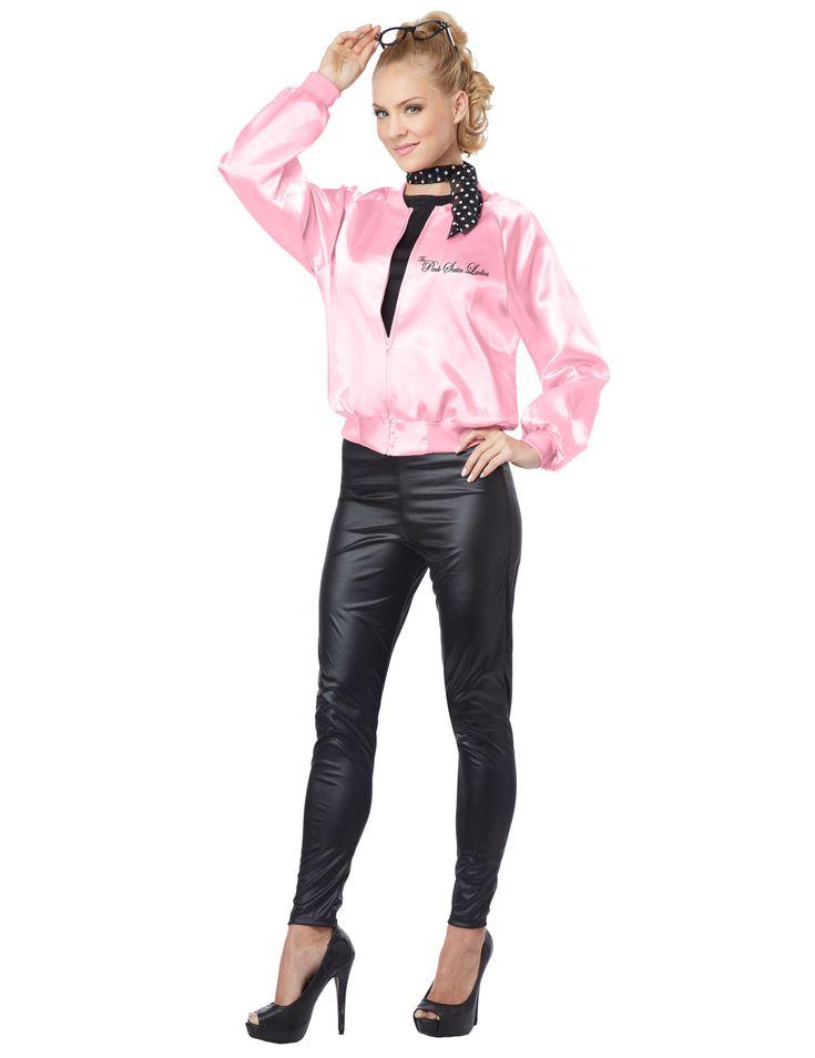 Disfraz años 50 rosa mujer: Este disfraz de los años 50 para mujer es una chaqueta y un pañuelo (pantalón, gafas y zapatos no incluidos).La chaqueta es satinada rosa. Las mangas son anchas y en la espalda...