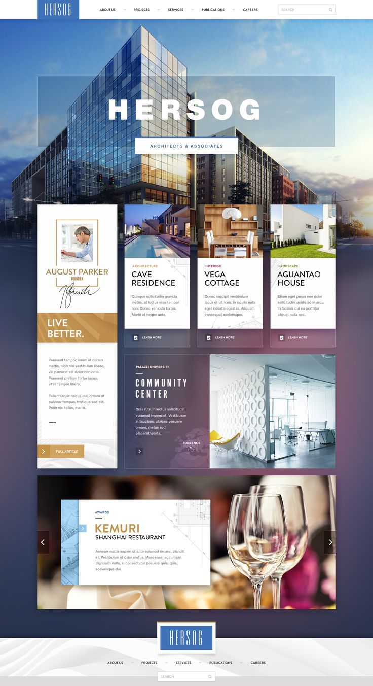 One of the first mockups of a site design for HERSOG architecture bureau