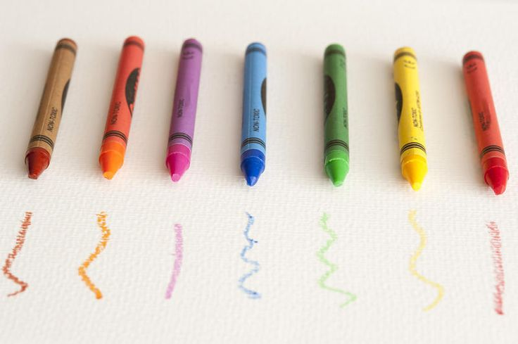 Free Stock Photo: Still Life of Colorful Crayons Lined Up in front of Corresponding Scribbles on White Paper with Copy Space - By freeimageslive contributor: gratuit