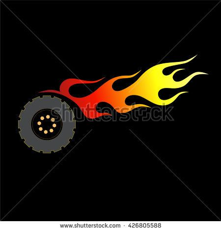 Abstract wheel with flames on a black background.