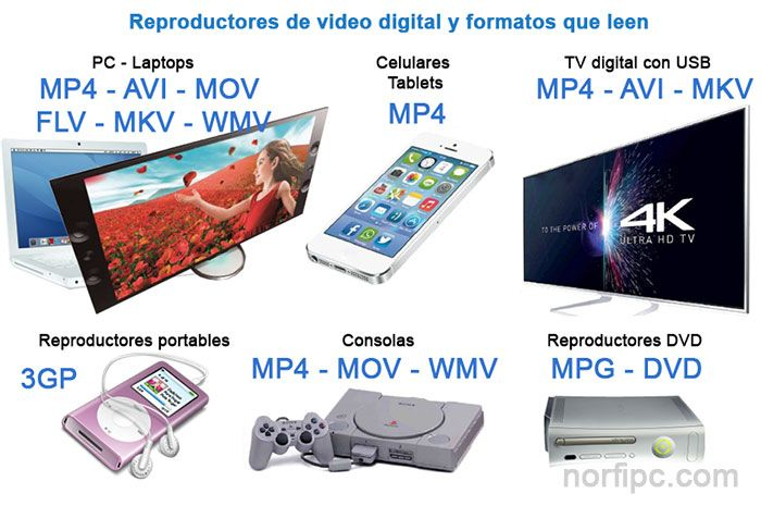 Reproductores de video digital y formatos que leen
