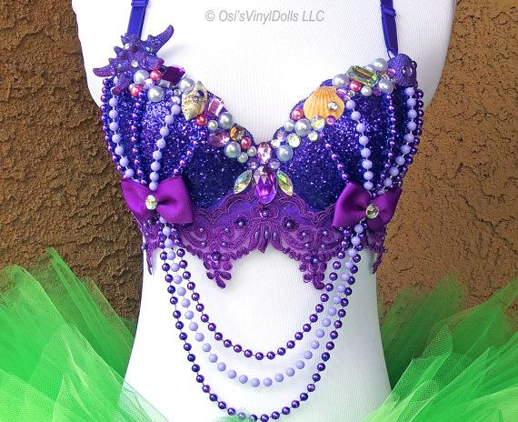 Fantasía Sirenita Ariel inspirado Rave Bra - sujetador de Rave de Disney, Halloween traje de sirena de EDM