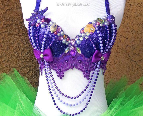 Le soutien-gorge Rave - Disney Rave Bra, Halloween EDM sirène Costume inspiré de fantaisie Ariel petite sirène