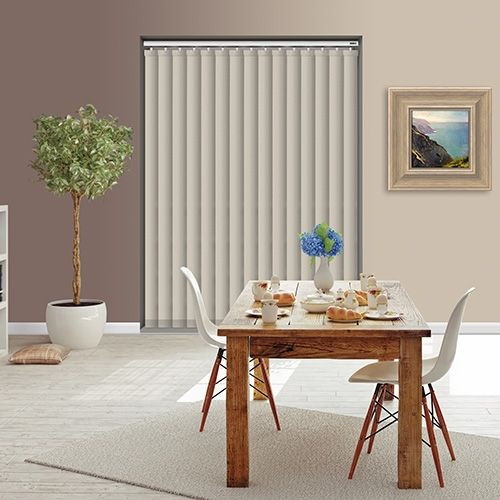 Controliss Oscuro Ecru 240V AC mains RTS remote control electric vertical blind. #Shades #Home #HomeDecor #InteriorDesign #Decor #VerticalBlinds #CreateYourHome #BudgetBlinds #WindowShades #Window #Design #Blind #WindowCoverings #Windows #Blinds #MadeinUK