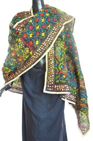 Phulkari Dupatta on Chanderi fabric-Black:GiftPiper.com.Buy phulkari dupatta,phulkari sarees, phulkari suits,handmade indian jewellery