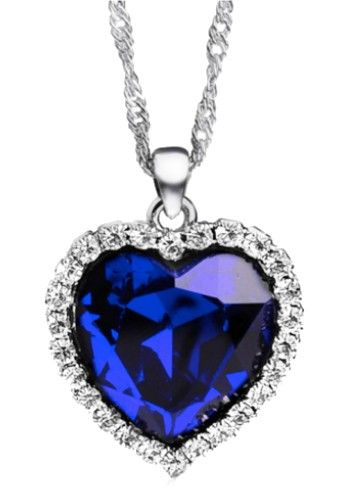 Blue Heart. Heart Of The Ocean Inspiration Titanic Necklace for $29.
