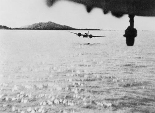 """""""Blenheim aircraft from 60 Squadron RAF level out for the """"run in"""" to make a mast-head attack on a Japanese coaster off Akyab, Burma in 1942."""" (via)"""