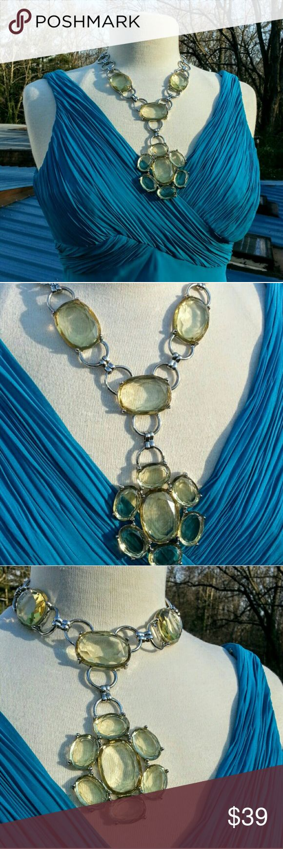 Citrine acrylic bold chunky necklace Can be worn tight like a choker with a dangle or looser and hang down to the bust Susan Graver Jewelry Necklaces