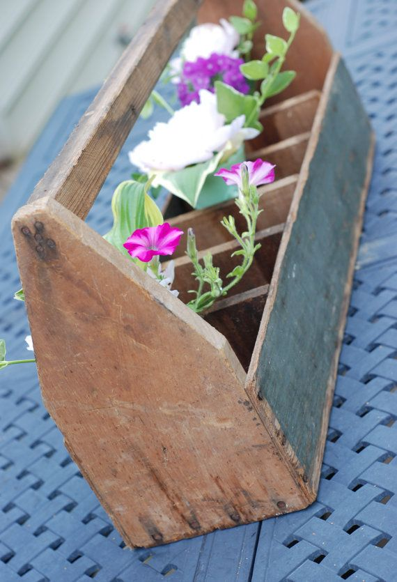 Old Rustic Wooden Garden Tool Caddy Tote by TheVintageRoad2Retro, $75.00