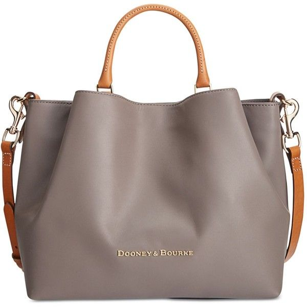 Dooney & Bourke Large Barlow Tote ($368) ❤ liked on Polyvore featuring bags, handbags, tote bags, taupe, brown leather purse, leather handbags, handbags totes, leather totes and brown tote