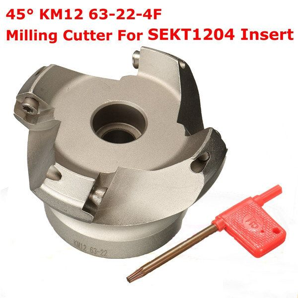 KM12-63-22-4T 45 degree indexable face mill cutter for SEKT1204 carbide inserts