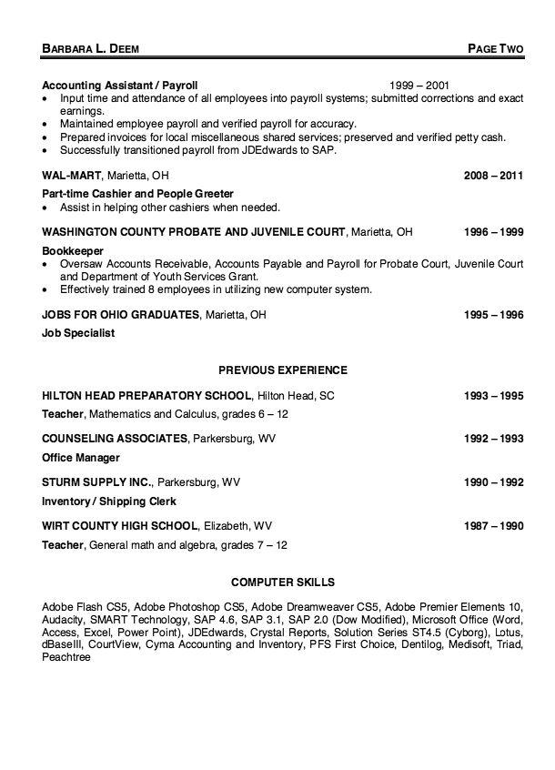 Payroll Specialist Resume Sample - http\/\/resumesdesign - payroll clerk resume
