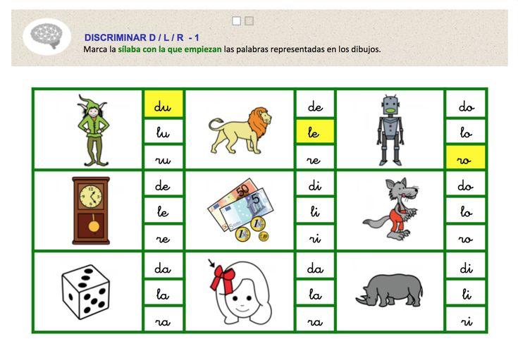 Segunda actividad, de una serie de tres, para trabajar la discriminación entre los fonemas D-L-R. Al ver unas palabras, representadas con pictogramas, hay que señalar qué sílaba contienen, de las tres opciones propuestas (una opción por cada fonema).