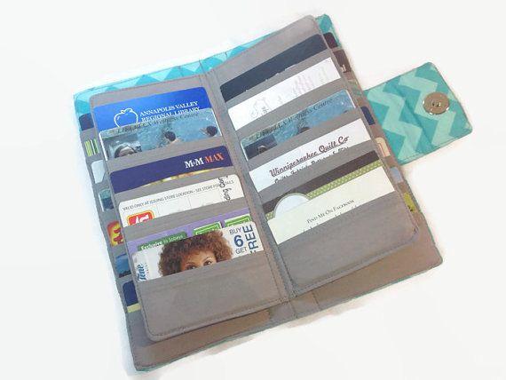 Credit Card Organizer, Credit Card Holder, Loyalty Card Organizer Chevron Card Wallet, Womens Wallet holds 38 cards