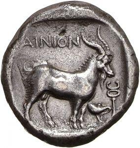 Tetradracma - argento - Ainos (388-365 a.C.) - versus: capro verso dx - Münzkabinett der Staatlichen Museen Berlin