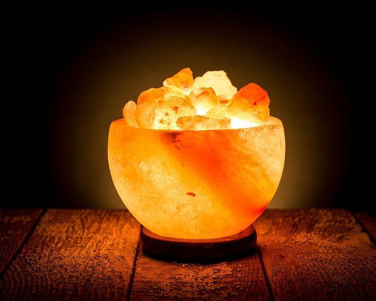 Himalayan Rock Salt Bowl Lamp with Salt Chips Wood Base