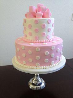 pink white baby cake polka dot