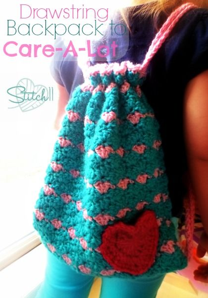 Drawstring Backpack to Care-A-Lot. Tutorial