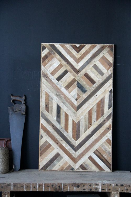 Use Of Dark Navy Wall With Rustic Geometric Pattern