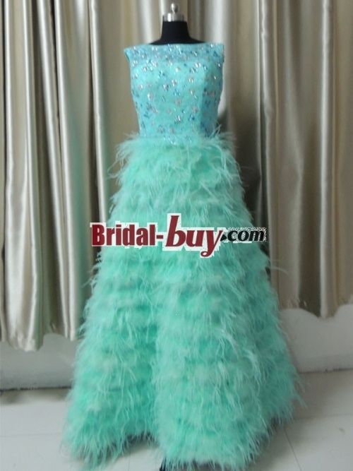 Real Samples! Best Selling Luxury Stunning Princess Scoop Rhinestones Feathers Lace Long Prom Dress/Evening Dress PD-7448 Bridal-Buy.com