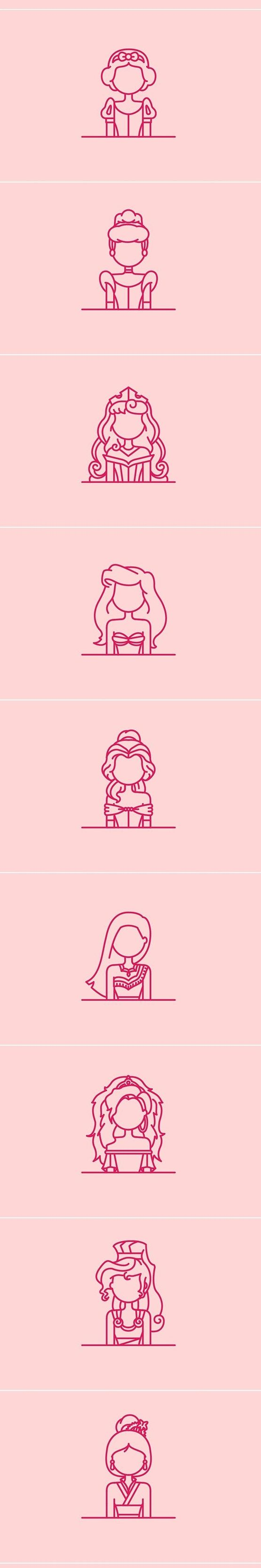 Princesses Disney minimalistes