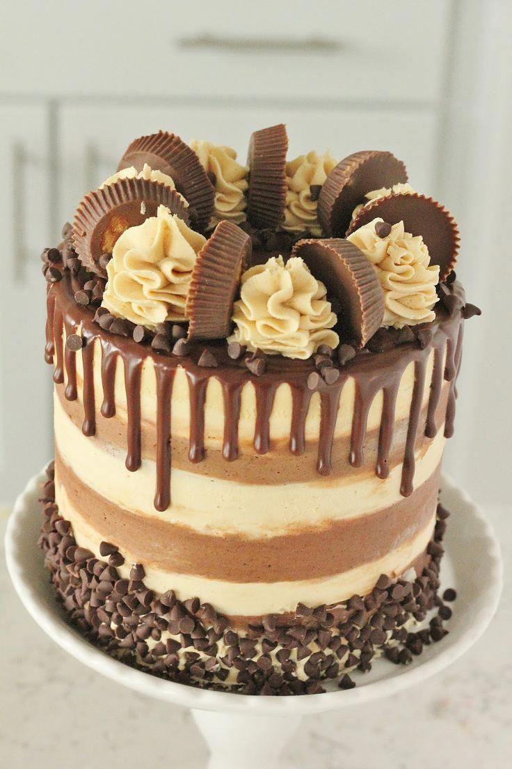 Chocolate Cake With Whipped Peanut Butter Buttercream Ganache