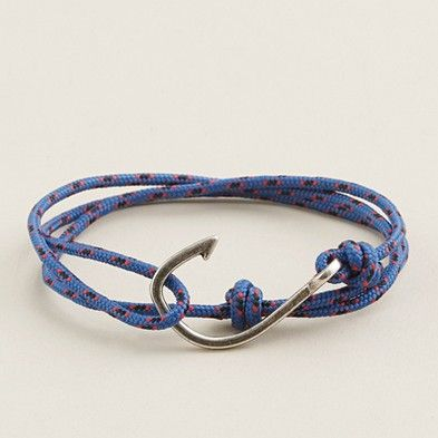 J.Crew Men. Miansai hook bracelet.    Retro inspired and made completely by hand from a vintage fishhook cast and military-grade woven cord (sourced from an American company that supplies the U.S. Coast Guard).    As far as I'm concerned, these aren't just for men.