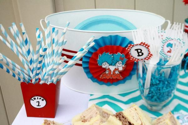 Thing One & Thing Two Dr Seuss Themed Birthday Party for twins